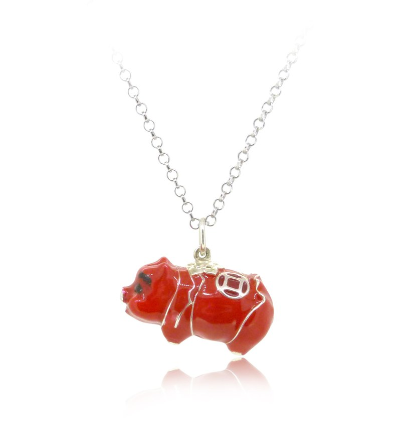 925 Sterling Silver Red Piggy Bank Shaped Pendant(23mm) w/ 24 inches Silver Nl