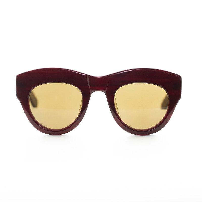 卵形經典板材墨鏡∣UV400太陽眼鏡-酒紅色
