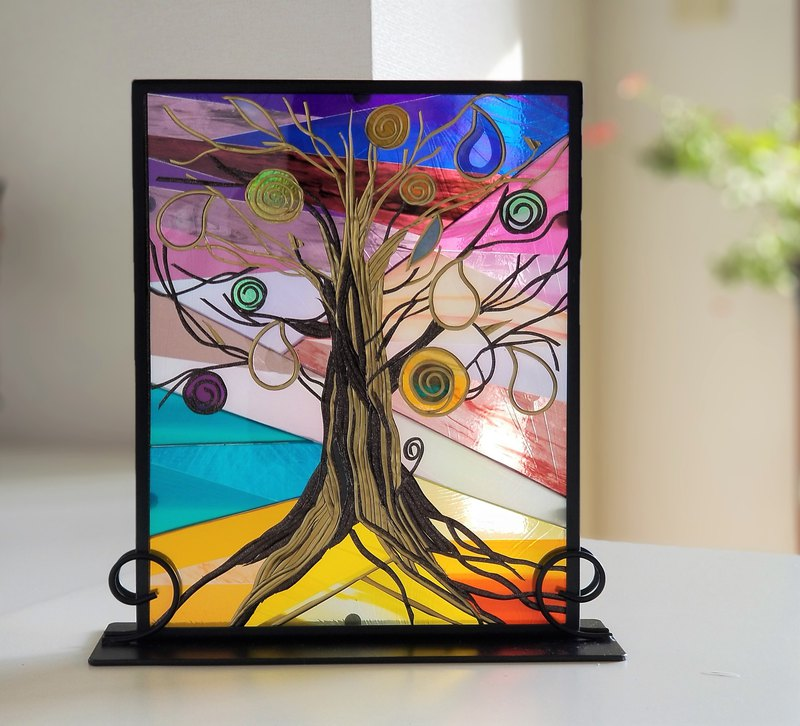 Glass Art Iron Stand  Tree of Ray