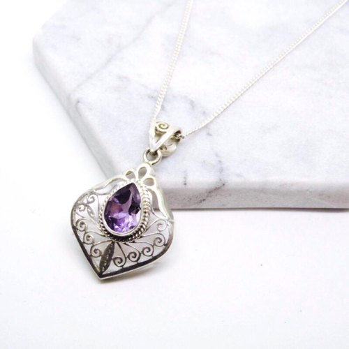 Nepal handmade classical carved amethyst 925 sterling silver necklace Valentine's Day gift