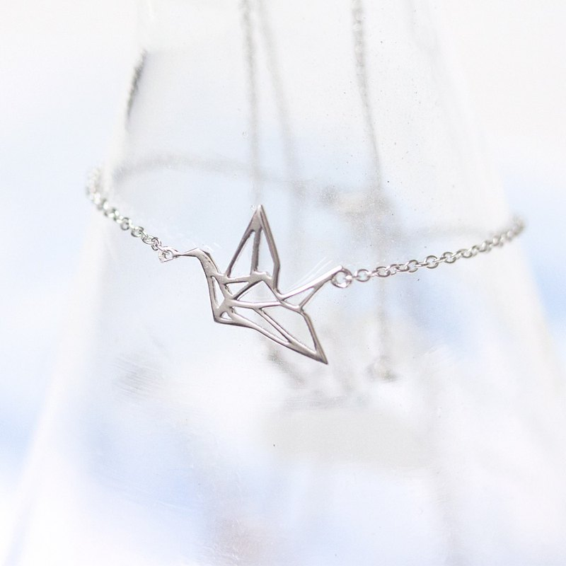 Blessing Paper Crane 925 Sterling Silver Necklace