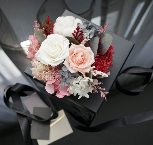 PlantSense Mother's Day Flowers & Gifts - selected large pink roses flower / immortalized hydrangea flower / cotton Amaranth + Golden Rose copper device