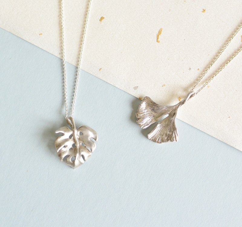 :: Gui Yao Jewelry Festival :: Sterling Silver Leaf Necklace - Monstera + Ginkgo Leaf 1 + 1 Offer