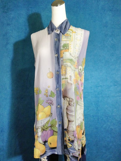 Ping-pong vintage [vintage shirt / chiffon long version of still life painting vintage sleeveless shirt / blouse] abroad back VINTAGE