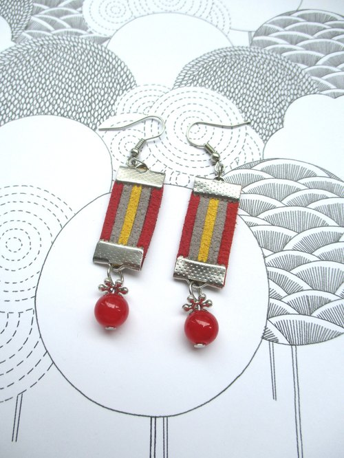 Small kite - wind Ethnic Earrings - Red