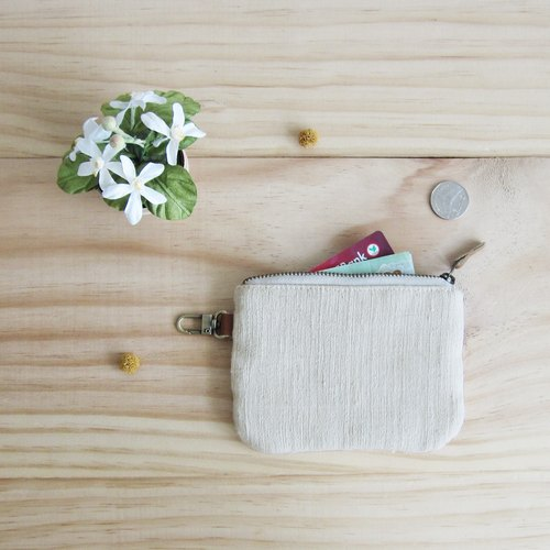 Coin Purses  with Key Chain Hand-woven Cotton Natural Color