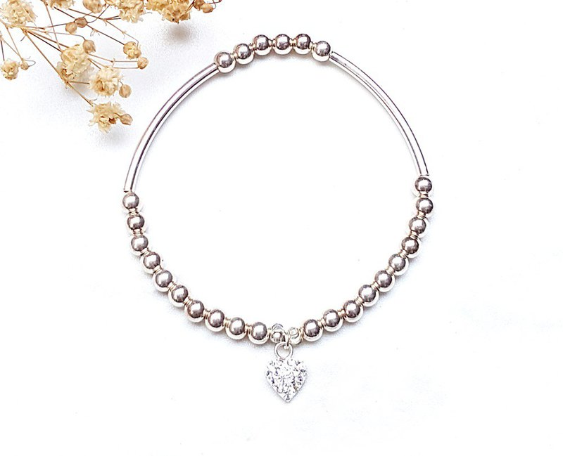 <Silver Series-Love White Zirconium> 925 Sterling Silver Silver Bead Bracelet