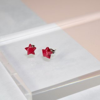 Cute Little Fuchsia Lucky Star Handmade Earrings
