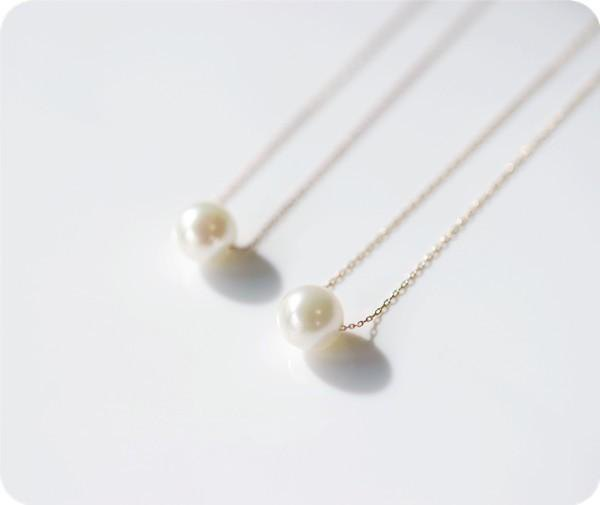 Bringing happiness K18 gold One grain Akoya AKOYA pearl necklace June birthstone