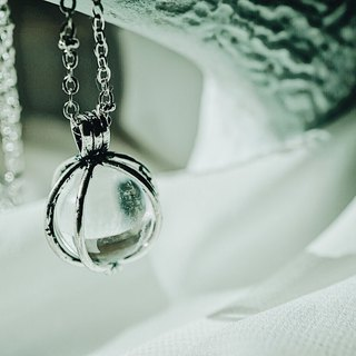 Cage Clear Crystal Ball Necklace