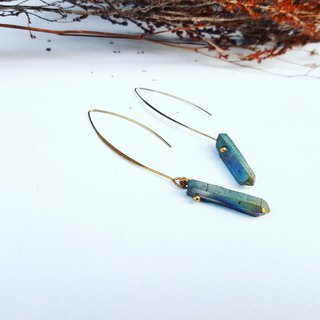 Galaxy Star Series _ Rainbow Color Mini Quartz Ore Large Copper Hook Earrings