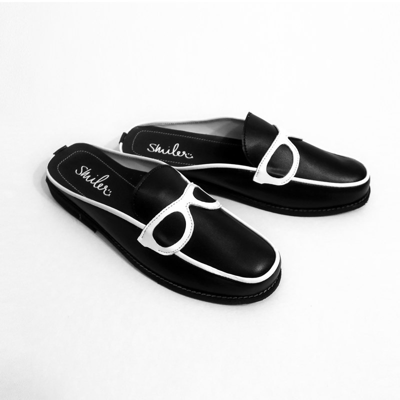 Glasses half-sandals - Black