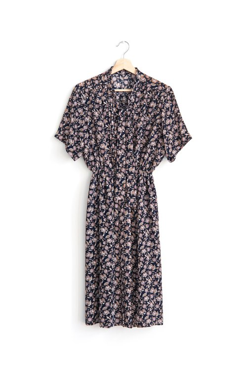 Vintage painted flowers vintage short-sleeved dress