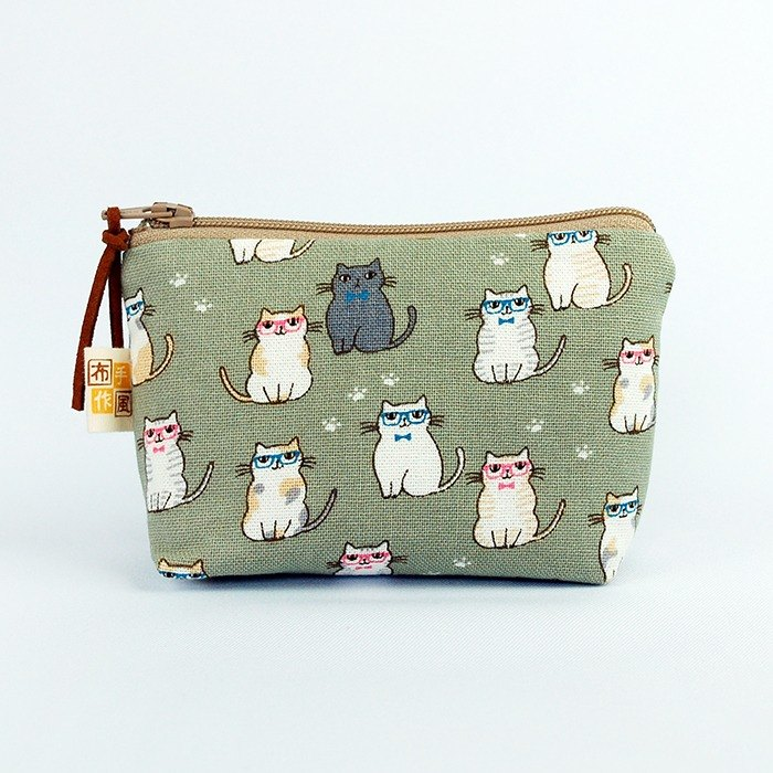 Glasses cat small pouch