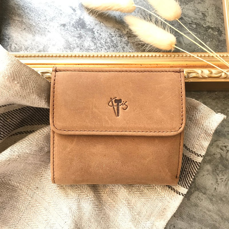 輕巧出門 袖珍型短皮夾 仿舊咖 情人節 開運皮夾 招財皮夾
