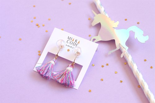 Do not note version 10mm Symphony foam glass ball Unicorn tassel ear clip / Japanese ear needle