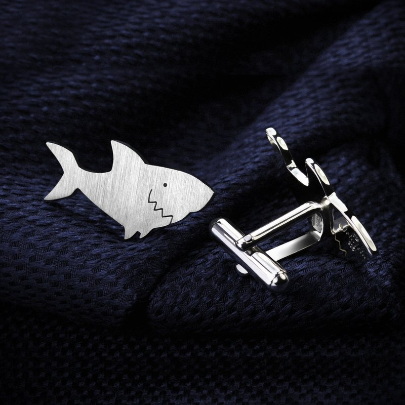 Sharks cufflinks sterling silver - Custom engraved cufflinks - Marine cufflinks