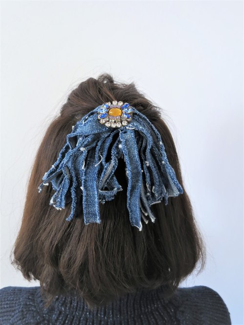 Vintage denim fringe & Bijou hair rubber vintage hairtie <HG-RBD3>