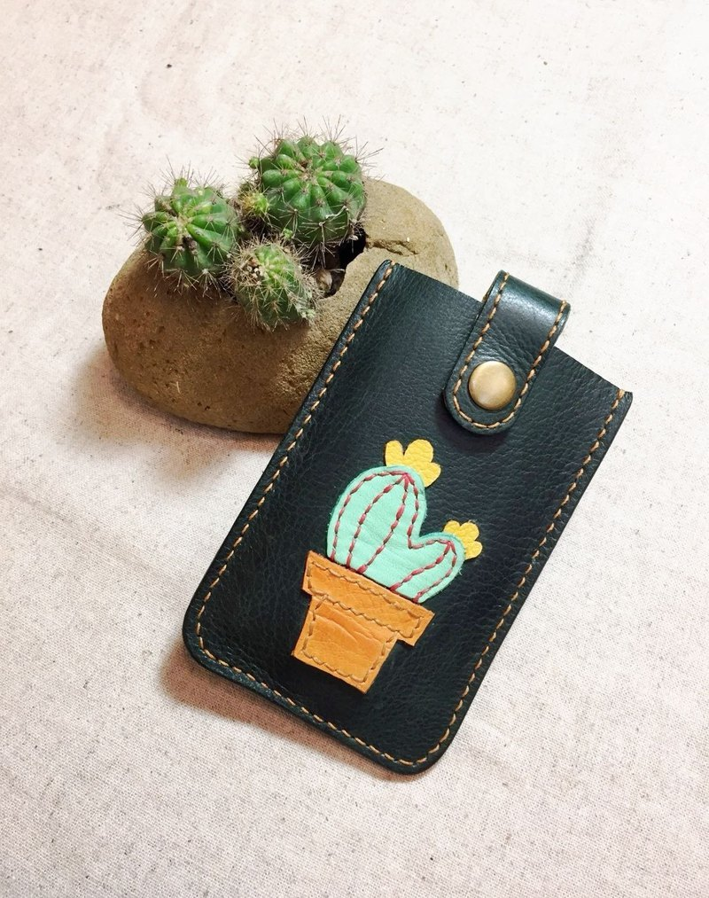 [Wang Yang Desert Little Green] Colorful Cactus - Candy Green Leather Handmade