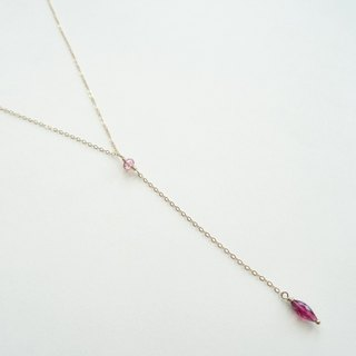 Tiny Rondelle and Marquise Tourmaline Dainty 14K GF Y-Necklace - Pink