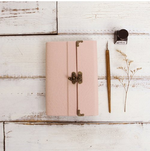 A6 handmade high-end PU leather Note book/Gift Wrapping Free/baby pink