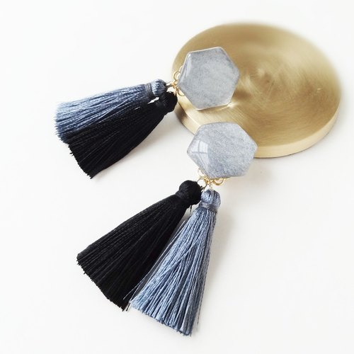 hexagon glossy-tassels【Gray】Clip-Earrings