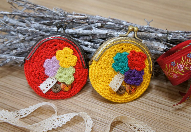 Hand-knitted love groceries wind small flower mouth gold bag (coin purse small bag cosmetic bag)