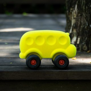 US Rubbabu Natural Latex Cart - - 2skool Bus Yellow Bus - - Biodegradable Infant Green Toys