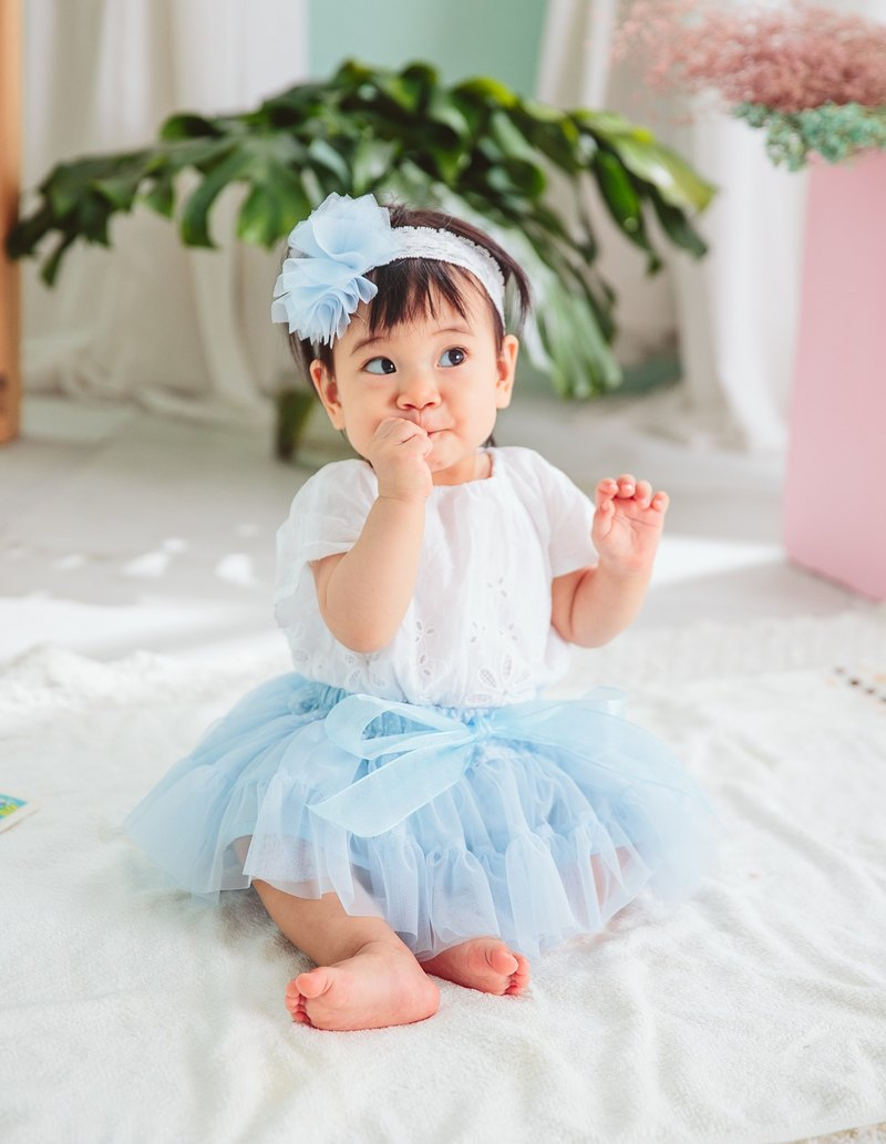 Newborn Gift Box - la petit Citron French Handmade Skirt Set (MIT): Danube Aqua Blue Skirt + Headdress Made in Taiwan