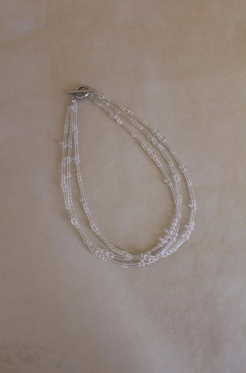 Transparent Necklace – Transparent three-strand braid – Necklace