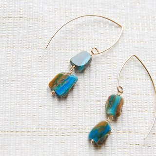 Blue Opal bigger Marquis Hook earrings 14 gold gf