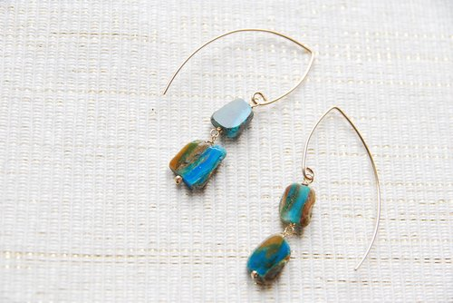 Blue Opal larger Marquis hook earrings (14 gold gf)