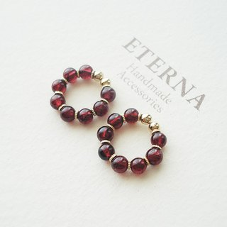 Garnet an metal beads, tiny hoop earrings 夾式耳環