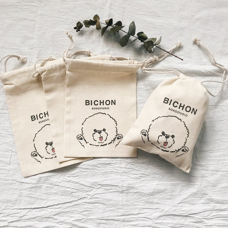 Bichon dog - canvas beam bag D section - BICHON