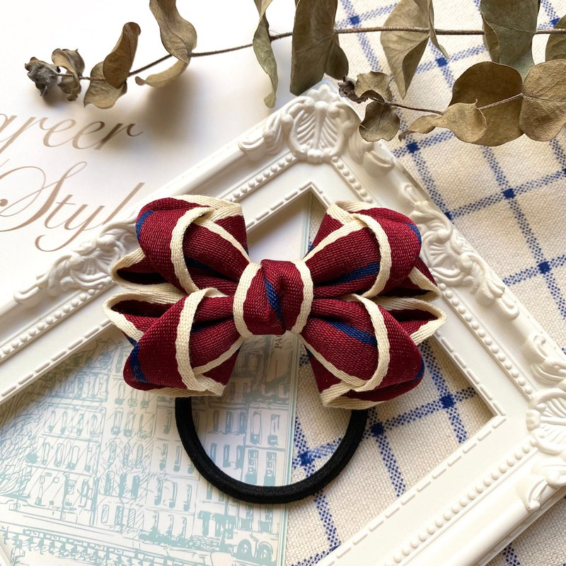 Striped Ribbon Hair Bow / Hair Red