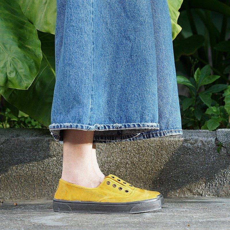西班牙國民帆布鞋 CIENTA U10777 85 芥末黃 黑底 洗舊布料 大人