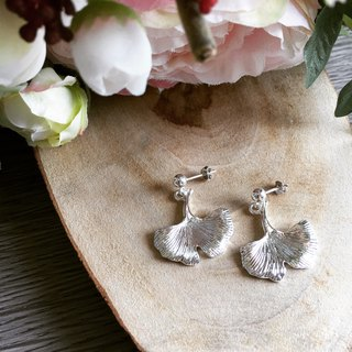 925 silver ginkgo leaf earrings