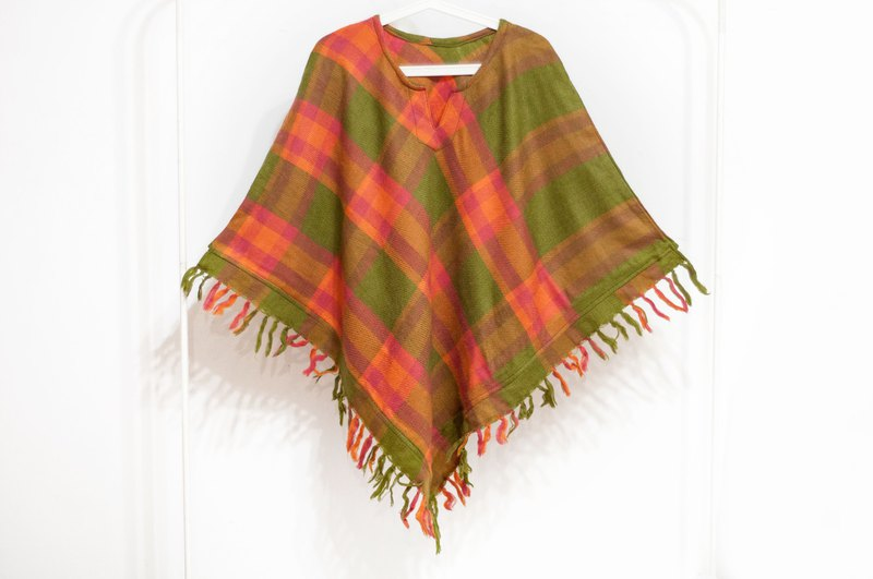 Indian ethnic tassel cloak / Bohemian cloak shawl / wool hooded cloak - orange soda
