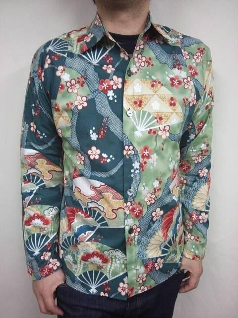 Long-sleeved shirt Japanese Pattern (Hanaougi pattern)