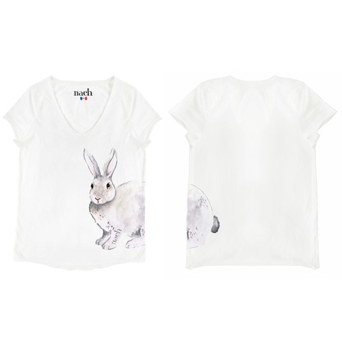 Grey Rabbit Tee Shirt 灰色 兔子