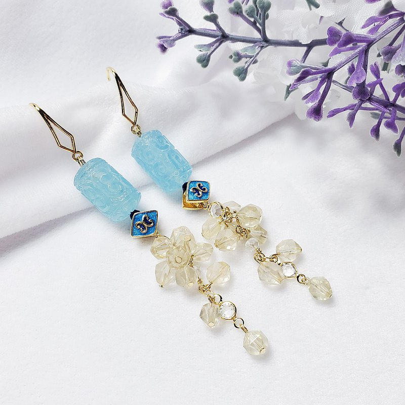 Only one piece of natural top aquamarine back pattern yellow fluorite enamel tassel wisdom and wealth earrings