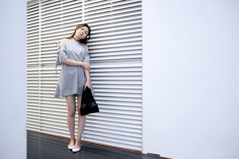 TAKE-Purplish grey bow ruffled sleeve A line dress