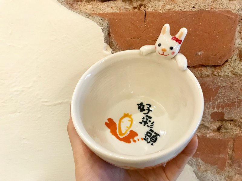 Hand-painted glaze under the painted rabbit baby cup edge good color head small bowl 250c.c