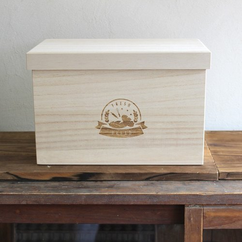 "Bread box ""FRESH BREAD 2 loaf"" Fashionable Storage box made in Japan wooden (kiri) Preservation of rice ""FRESH BREAD"" 2 loaf fashion storage box paulownia domestic production domestic production wooden rice bread case"