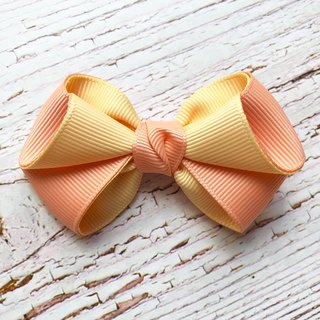 Pink and fresh bangs hairpin / peach orange + goose yellow