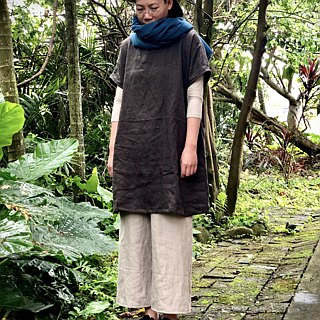 Handmade natural pure linen pocket long version of the dress