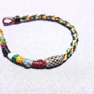 Can also be very personal | 925 sterling silver flower barrel beads x five-color line woven wide version bracelet