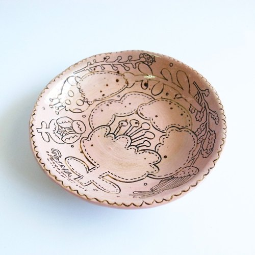 Powder pink / hand carved / painted / flower / tableware / disc