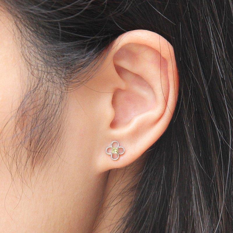 0.12克拉天然公主方黃色彩鑽18K四葉草耳環 鑽石耳釘 客製化訂製