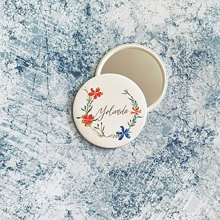 Mstandforc Pocket Mirror with bag | Florals with gold foil service